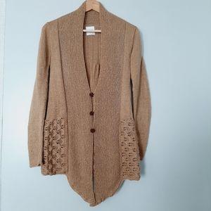 THREADS Handknit Light Soft Tan Sweater Cardigan M